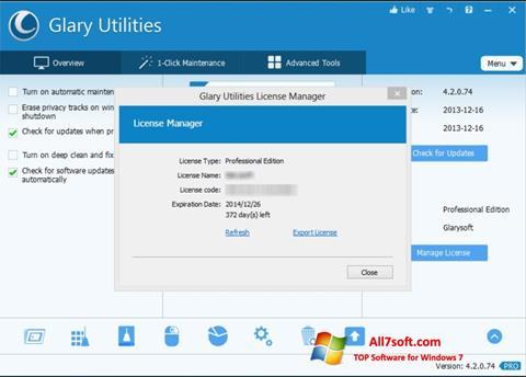સ્ક્રીનશૉટ Glary Utilities Windows 7