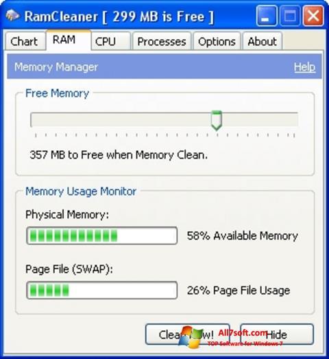 સ્ક્રીનશૉટ RamCleaner Windows 7