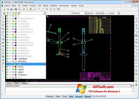 સ્ક્રીનશૉટ DraftSight Windows 7