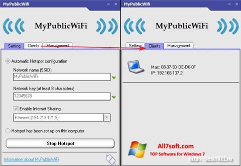 સ્ક્રીનશૉટ MyPublicWiFi Windows 7