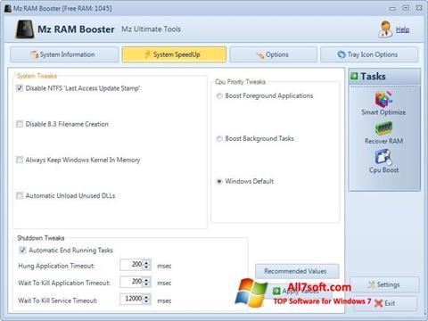 સ્ક્રીનશૉટ Mz RAM Booster Windows 7