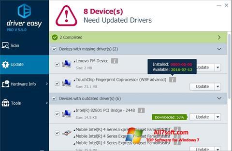 સ્ક્રીનશૉટ Driver Easy Windows 7