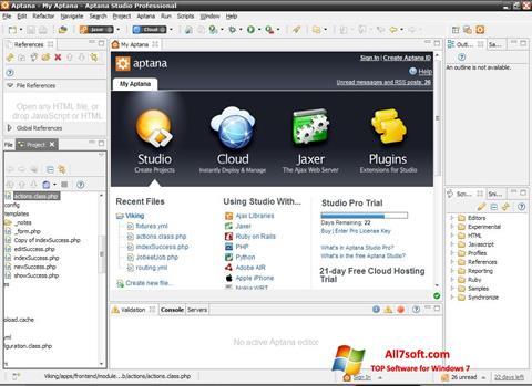 સ્ક્રીનશૉટ Aptana Studio Windows 7