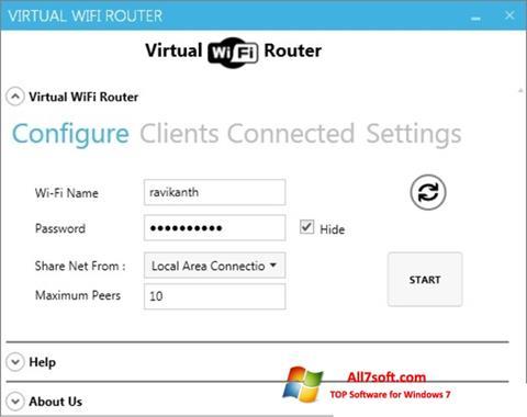 સ્ક્રીનશૉટ Virtual WiFi Router Windows 7