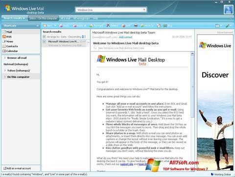 સ્ક્રીનશૉટ Windows Live Mail Windows 7