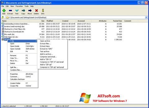 સ્ક્રીનશૉટ 7-Zip Windows 7