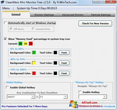 સ્ક્રીનશૉટ CleanMem Windows 7