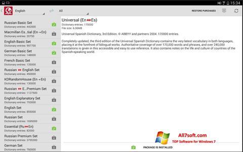 સ્ક્રીનશૉટ ABBYY Lingvo Windows 7