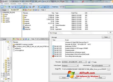 સ્ક્રીનશૉટ UltraISO Windows 7