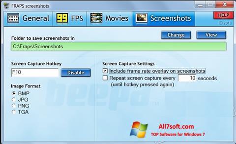 સ્ક્રીનશૉટ Fraps Windows 7