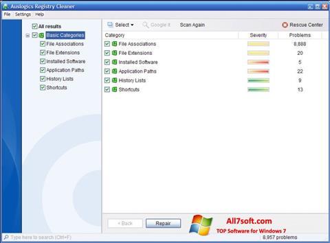 સ્ક્રીનશૉટ Auslogics Registry Cleaner Windows 7