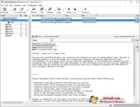 સ્ક્રીનશૉટ Claws Mail Windows 7