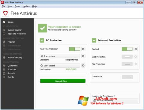 સ્ક્રીનશૉટ Avira Free Antivirus Windows 7