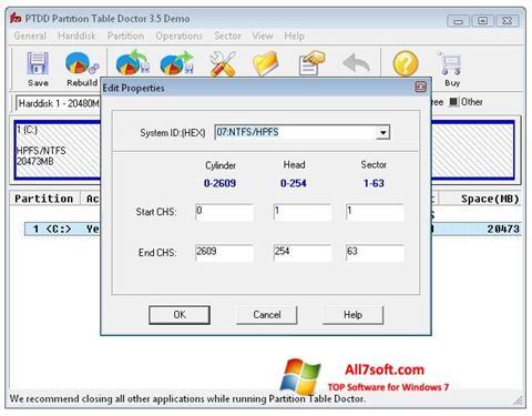 સ્ક્રીનશૉટ Partition Table Doctor Windows 7