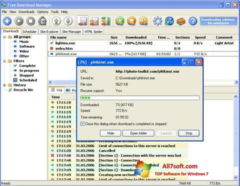 સ્ક્રીનશૉટ Download Master Windows 7