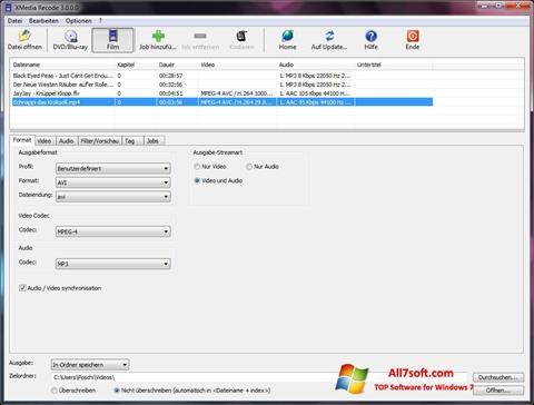 સ્ક્રીનશૉટ XMedia Recode Windows 7
