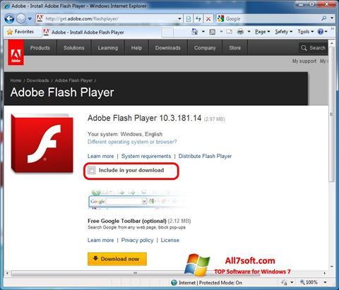 સ્ક્રીનશૉટ Adobe Flash Player Windows 7
