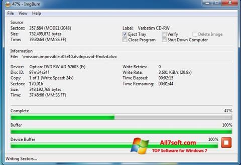 સ્ક્રીનશૉટ ImgBurn Windows 7