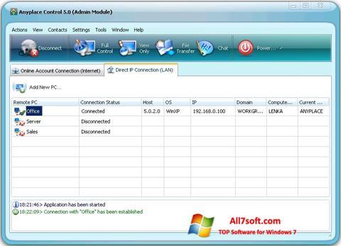 સ્ક્રીનશૉટ Anyplace Control Windows 7