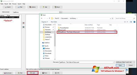 સ્ક્રીનશૉટ ArtMoney Windows 7