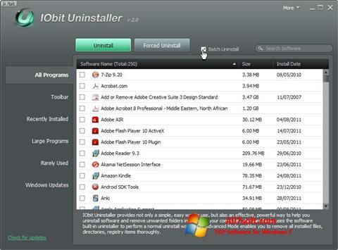 સ્ક્રીનશૉટ IObit Uninstaller Windows 7