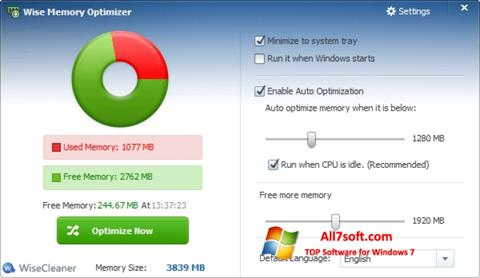 સ્ક્રીનશૉટ Wise Memory Optimizer Windows 7