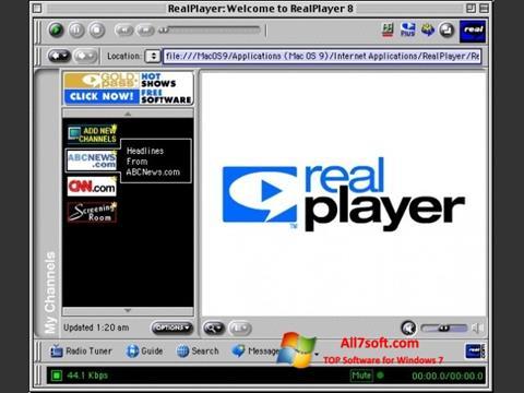 સ્ક્રીનશૉટ RealPlayer Windows 7
