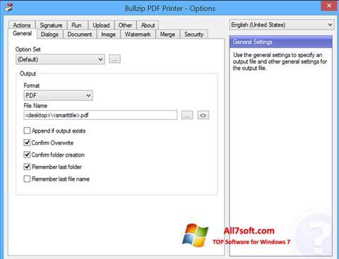 સ્ક્રીનશૉટ BullZip PDF Printer Windows 7