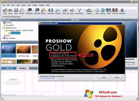 સ્ક્રીનશૉટ ProShow Gold Windows 7
