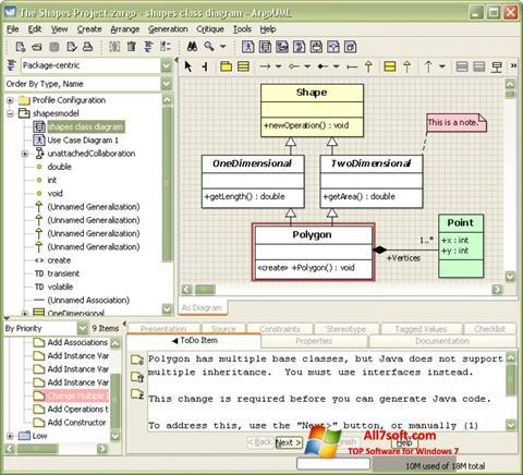 સ્ક્રીનશૉટ ArgoUML Windows 7