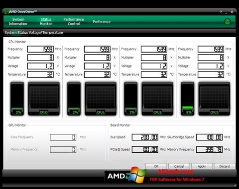 સ્ક્રીનશૉટ AMD Overdrive Windows 7
