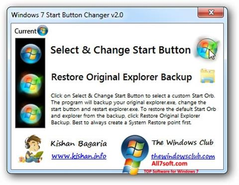 સ્ક્રીનશૉટ Windows 7 Start Button Changer Windows 7