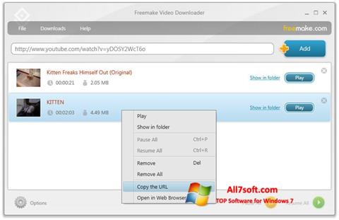 સ્ક્રીનશૉટ Freemake Video Downloader Windows 7
